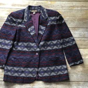 Vintage wool blend Aztec print blazer